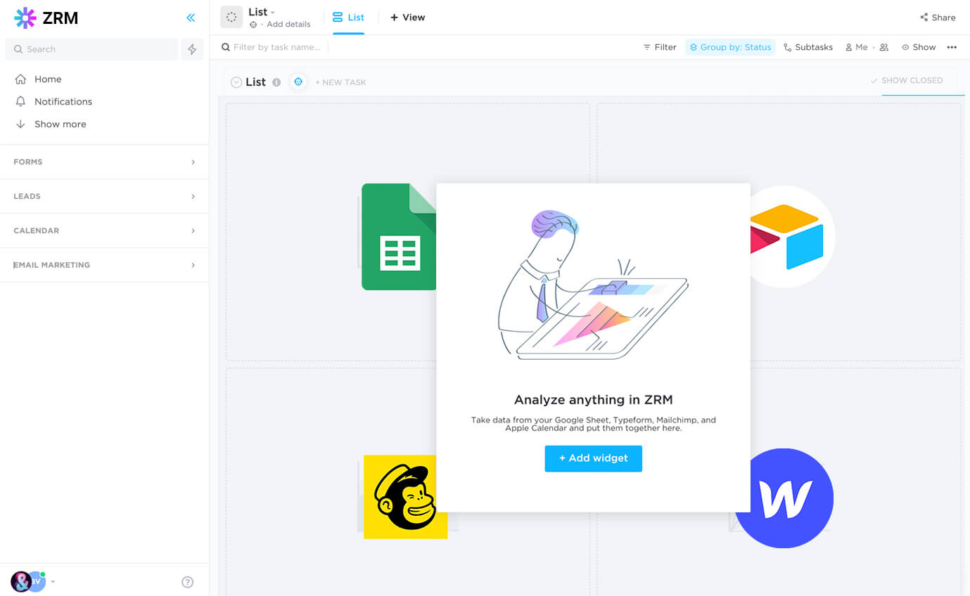 A mockup of a CRM in Zapier